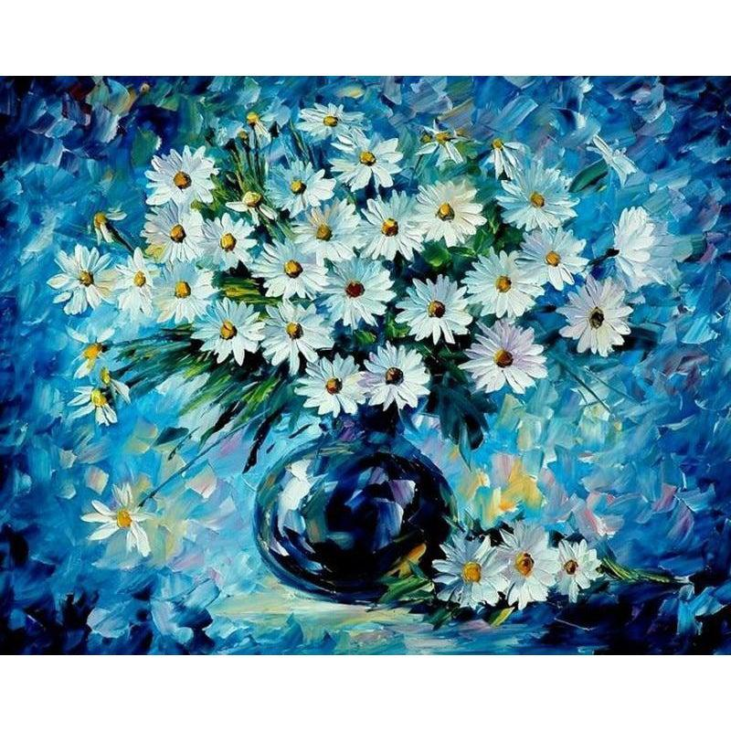 DIY Paint by Number kit for Adults on Canvas-Blue Daisy-40x50cm (16x20inches)