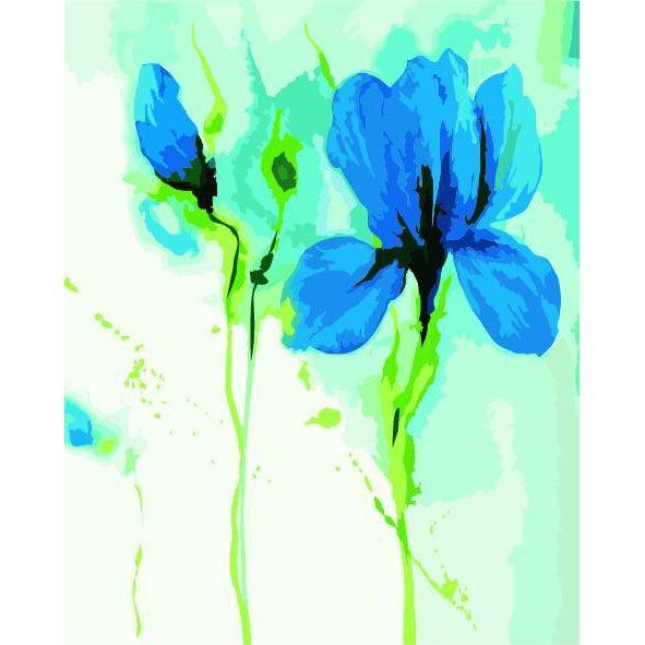 DIY Paint by Number kit for Adults on Canvas-Blue Flowers-40x50cm (16x20inches)
