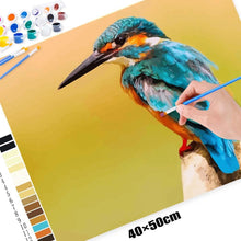 DIY Paint by Number kit for Adults on Canvas-Blue Kingfisher-Painting & Calligraphy