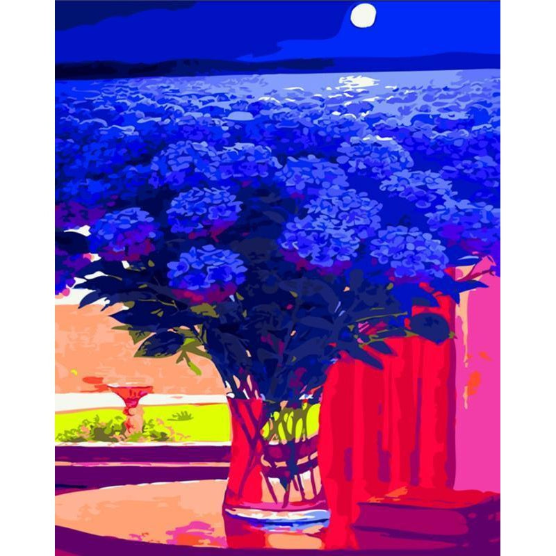DIY Paint by Number kit for Adults on Canvas-Blue Sea of Flowers-40x50cm (16x20inches)