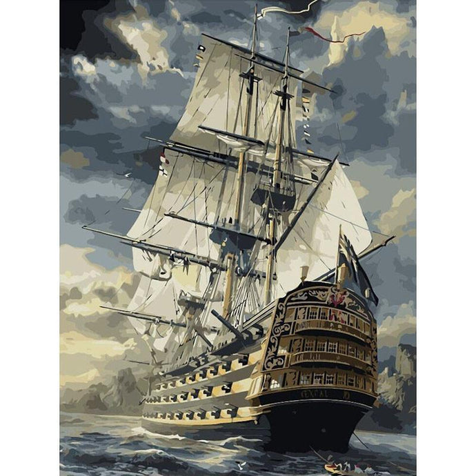 DIY Paint by Number kit for Adults on Canvas-Boat Weathering Storm [LIMITED PRINT]-40x50cm (16x20inches)