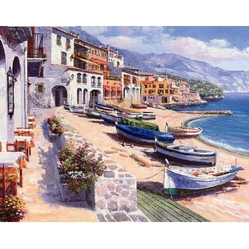DIY Paint by Number kit for Adults on Canvas-Boats Ashore-40x50cm (16x20inches)