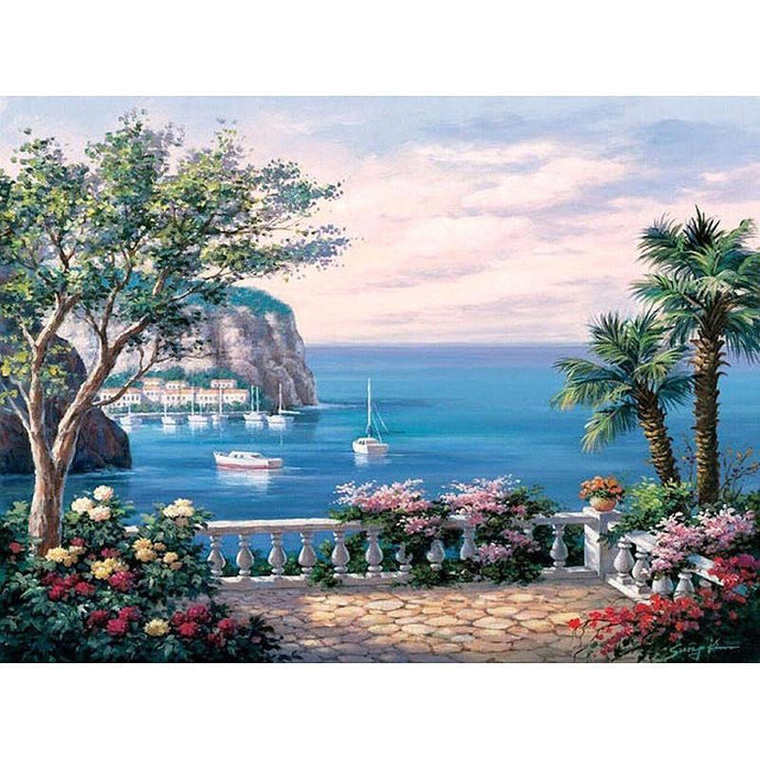 DIY Paint by Number kit for Adults on Canvas-Boats Pass in Distance-40x50cm (16x20inches)