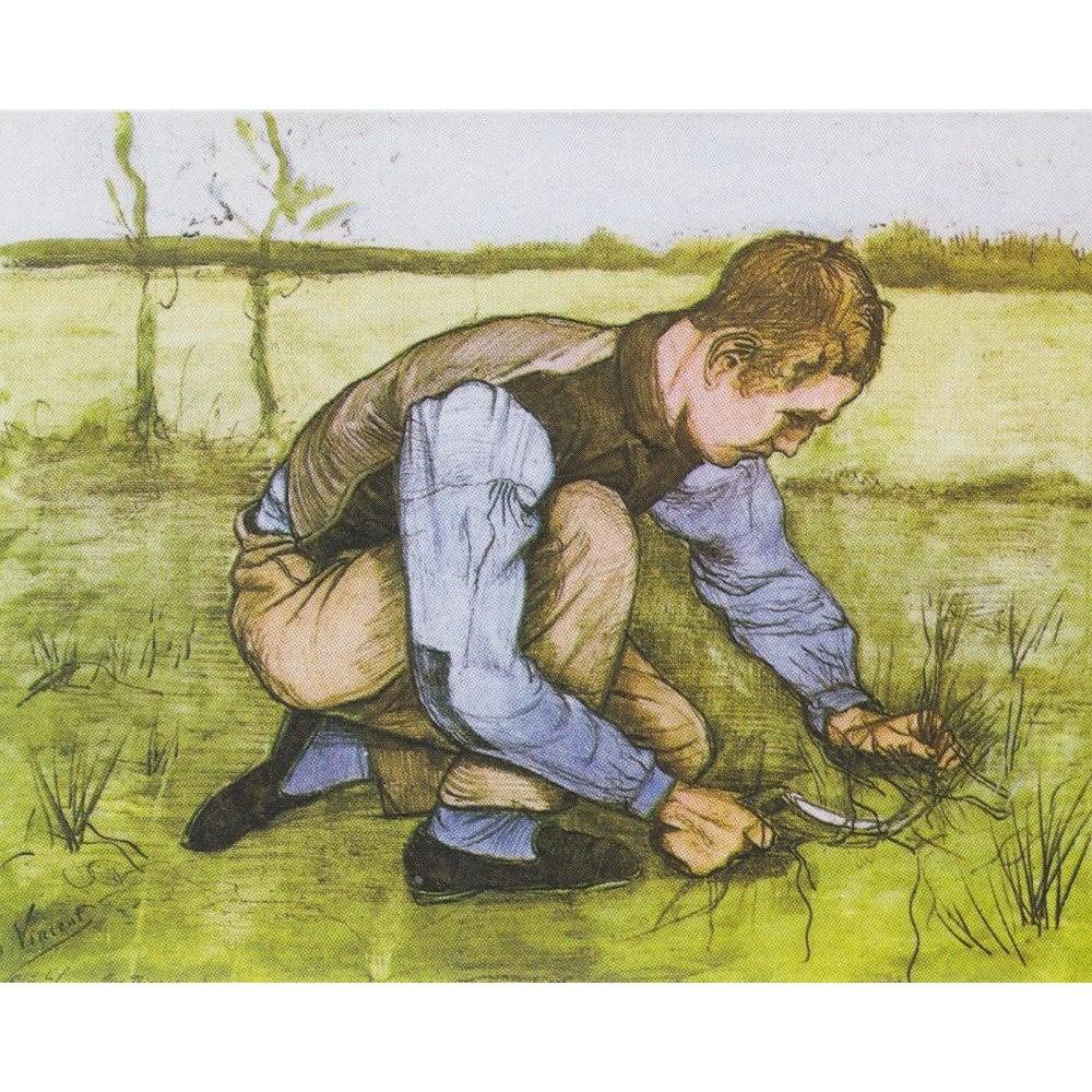 DIY Paint by Number kit for Adults on Canvas-Boy Cutting Grass with a Sickle - Van Gogh - 1881-
