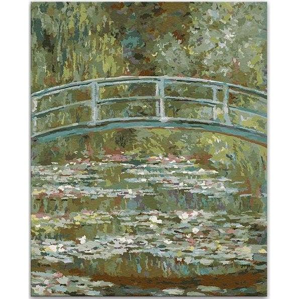 DIY Paint by Number kit for Adults on Canvas-Bridge over a Pond of Water Lilies - Claude Monet-Clean PBN