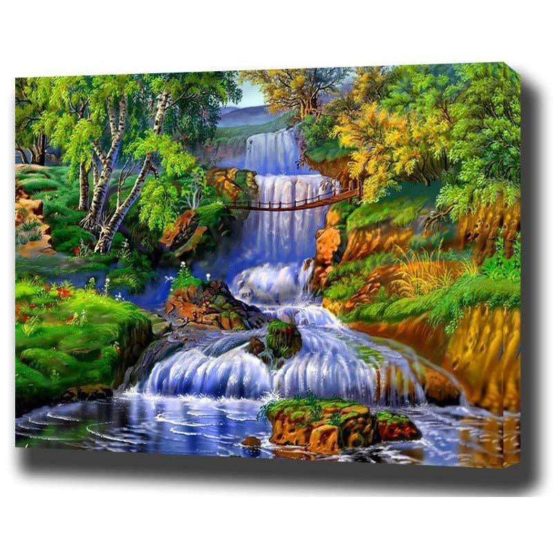 DIY Paint by Number kit for Adults on Canvas-Bridge Over the Waterfall-40x50cm (16x20inches)