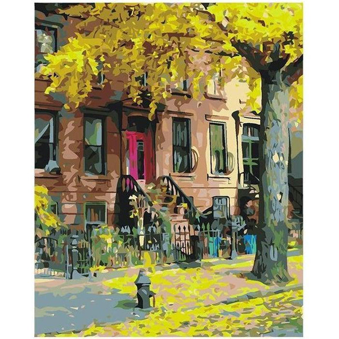 DIY Paint by Number kit for Adults on Canvas-Brooklyn Brownstone-40x50cm (16x20inches)