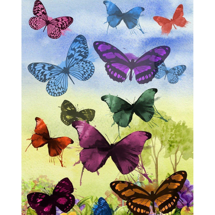 DIY Paint by Number kit for Adults on Canvas-Bunch of Butterflies-Clean PBN