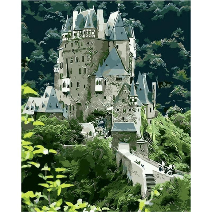 DIY Paint by Number kit for Adults on Canvas-Burg Eltz Castle-Painting & Calligraphy