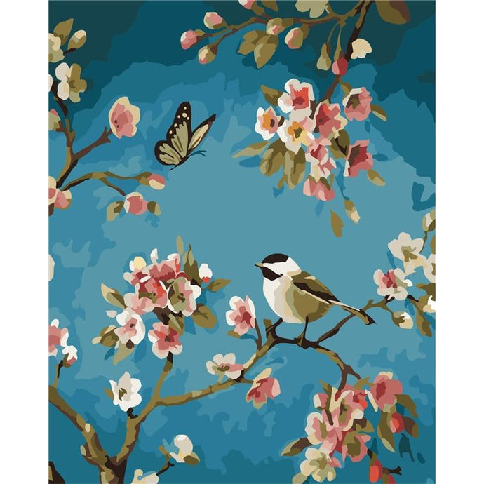 DIY Paint by Number kit for Adults on Canvas-Butterfly and a Bird-40x50cm (16x20inches)