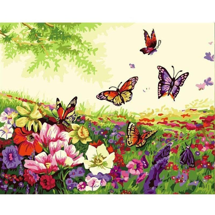 DIY Paint by Number kit for Adults on Canvas-Butterfly Field-40x50cm (16x20inches)