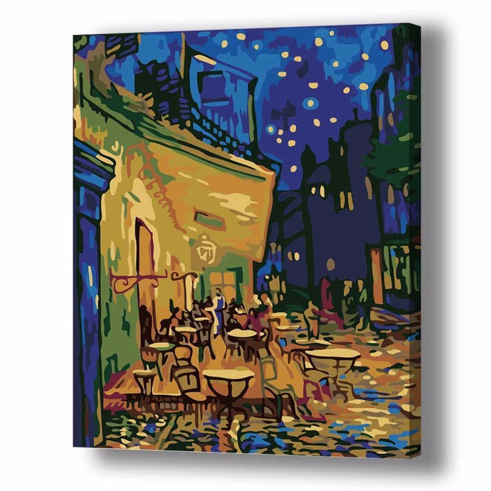 DIY Paint by Number kit for Adults on Canvas-Café Terrace at Night - Van Gogh-Clean PBN