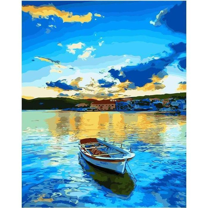 DIY Paint by Number kit for Adults on Canvas-Canoe Lake-40x50cm (16x20inches)
