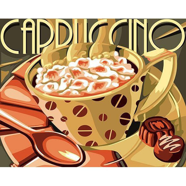 DIY Paint by Number kit for Adults on Canvas-Cappuccino-40x50cm (16x20inches)