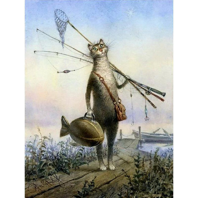 DIY Paint by Number kit for Adults on Canvas-Catfish Cat Fishing-40x50cm (16x20inches)