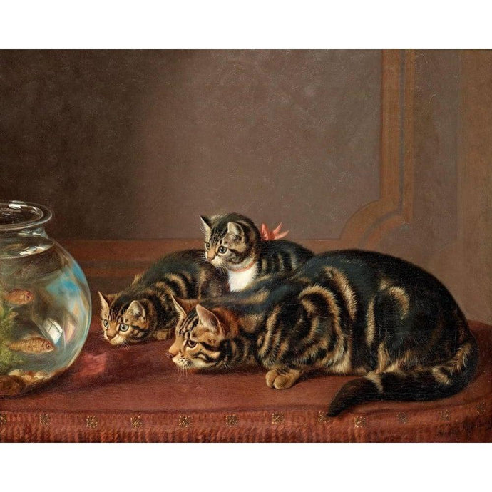 DIY Paint by Number kit for Adults on Canvas-Cats by a Fishbowl - Horatio Henry Couldery-Clean PBN