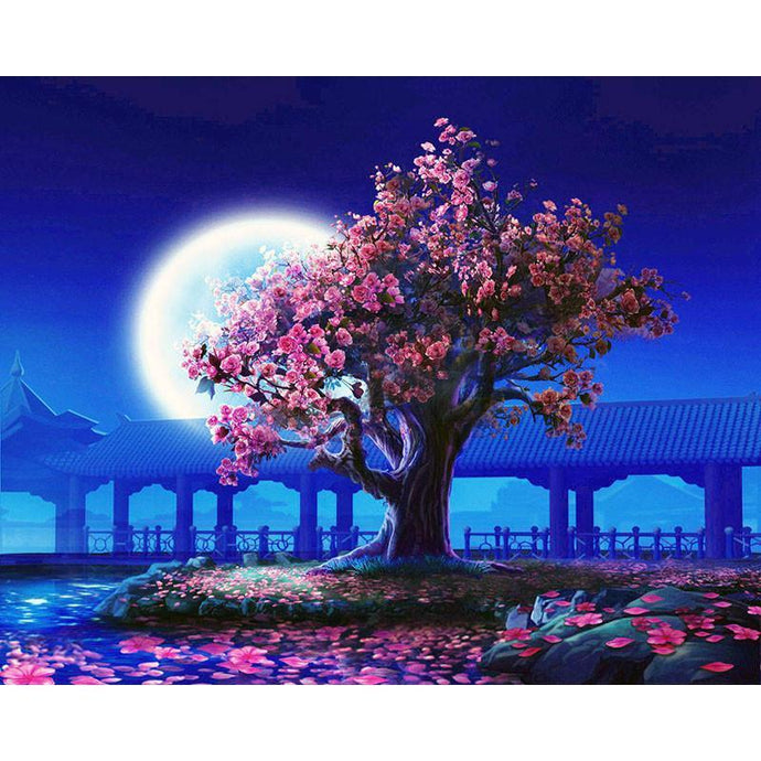 DIY Paint by Number kit for Adults on Canvas-Cherry Blossom in the Japanese Moonlight [LIMITED PRINT]-40x50cm (16x20inches)