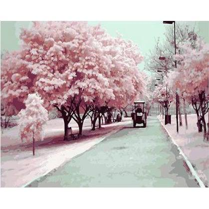 DIY Paint by Number kit for Adults on Canvas-Cherry Blossom Season-40x50cm (16x20inches)