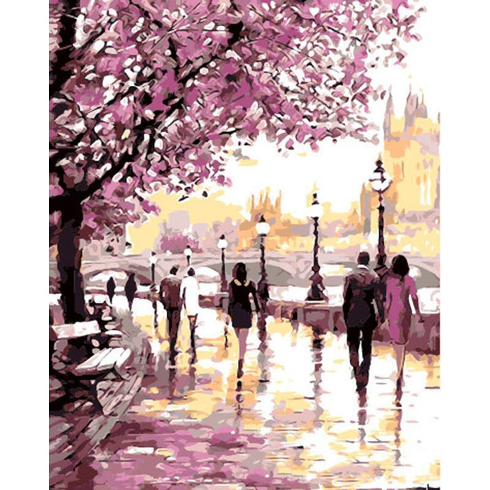 DIY Paint by Number kit for Adults on Canvas-Cherry Blossoms By The Lake [LIMITED PRINT]-40x50cm (16x20inches)