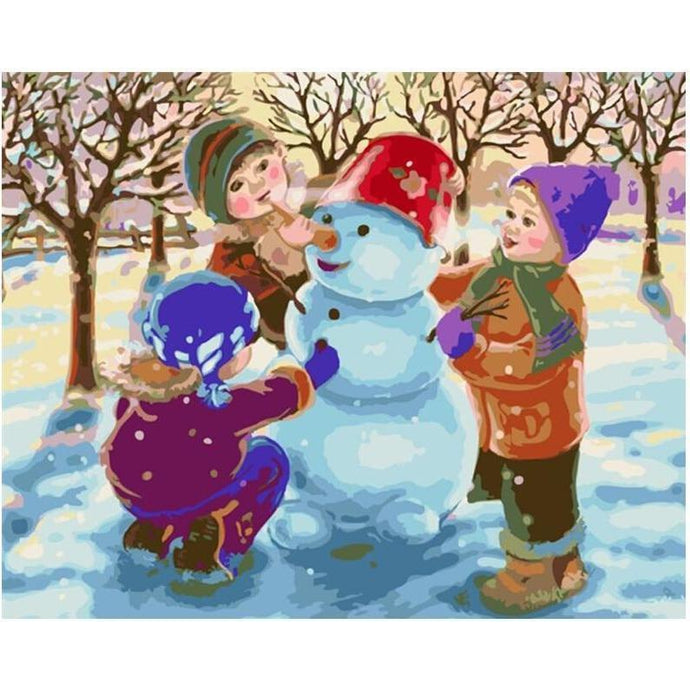 DIY Paint by Number kit for Adults on Canvas-Children's Christmas Snowman-40x50cm (16x20inches)