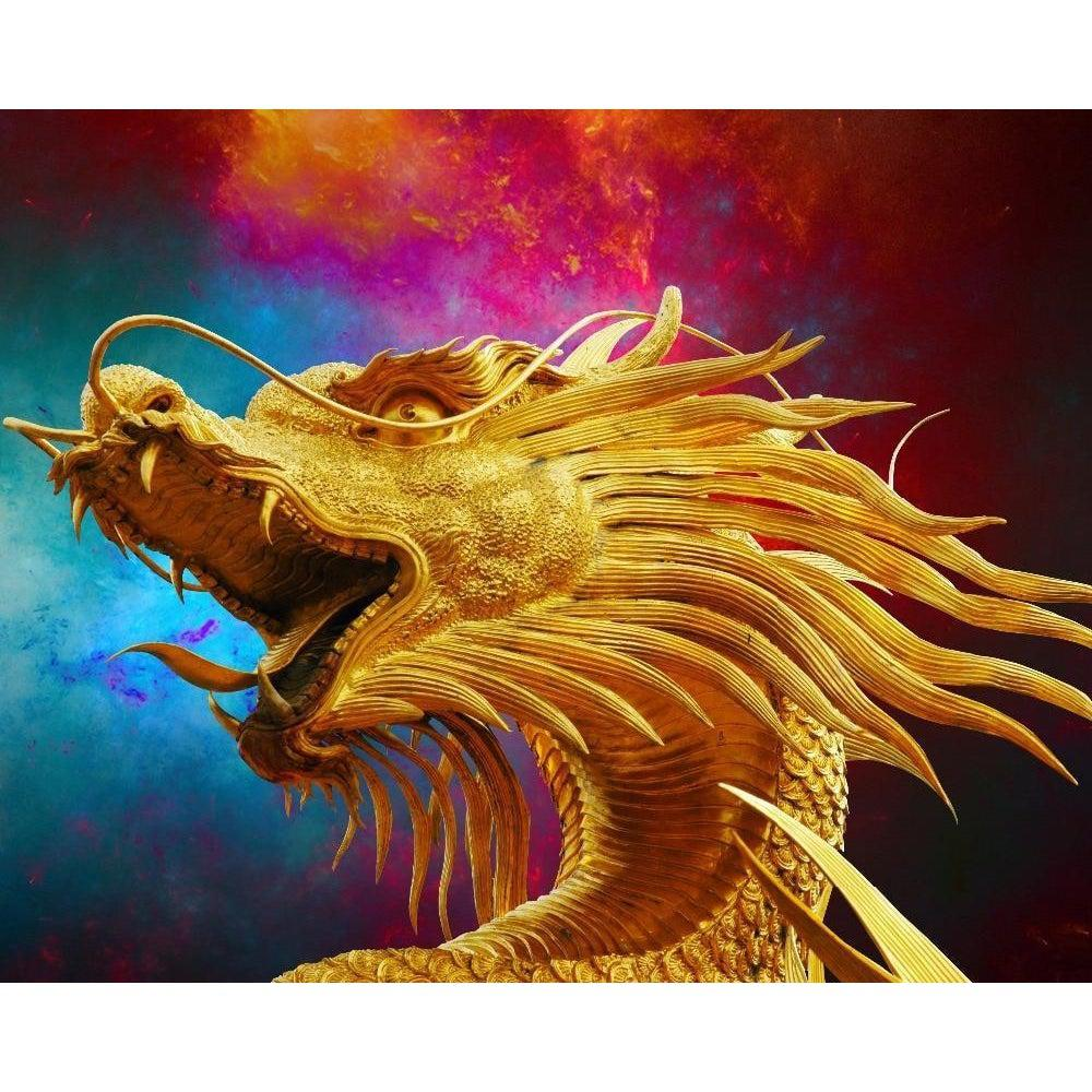DIY Paint by Number kit for Adults on Canvas-Chinese Dragon-Clean PBN