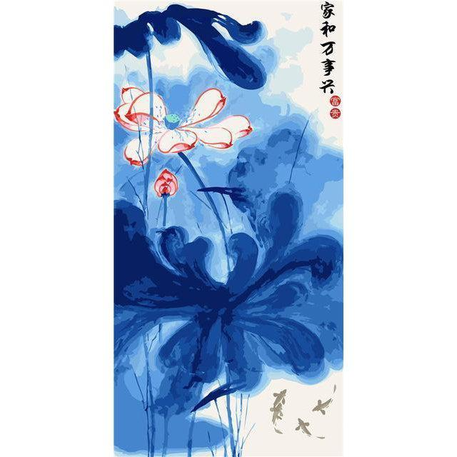 DIY Paint by Number kit for Adults on Canvas-Chinese Lily Blossom [EXTRA Large Print]-40x80cm (16x32inches)