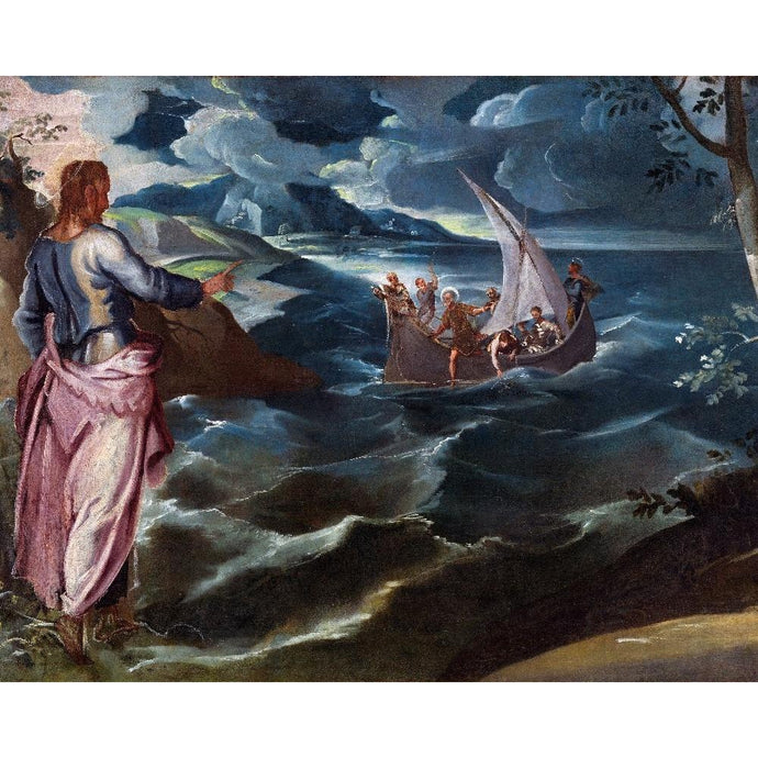 DIY Paint by Number kit for Adults on Canvas-Christ at the Sea of Galilee - Jacopo Tintoretto - 1570-Clean PBN