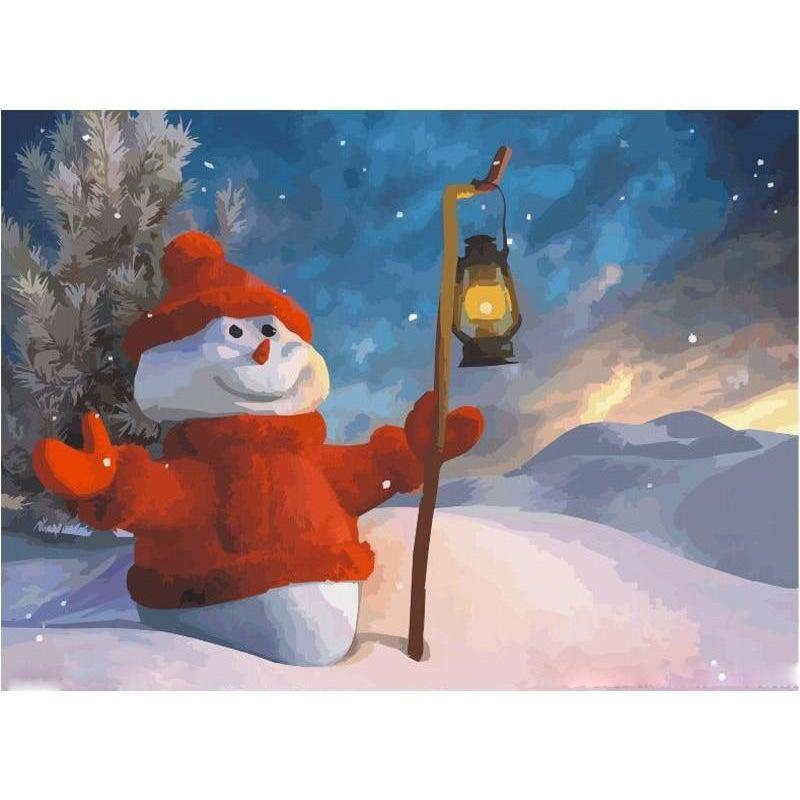 DIY Paint by Number kit for Adults on Canvas-Christmas Snowman-40x50cm (16x20inches)