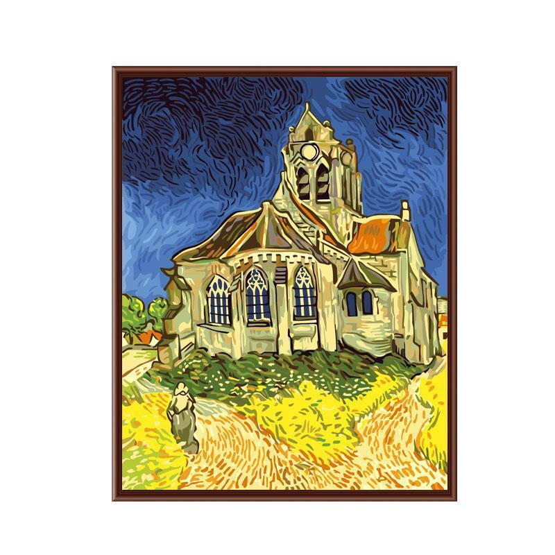 DIY Paint by Number kit for Adults on Canvas-Church at Auvers - Van Gogh-Clean PBN