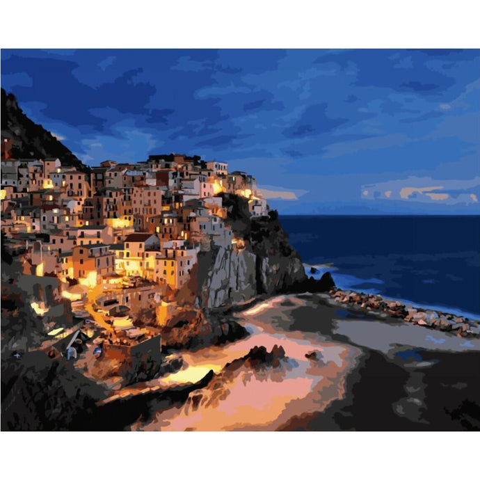 DIY Paint by Number kit for Adults on Canvas-City on the Coast of Dusk-