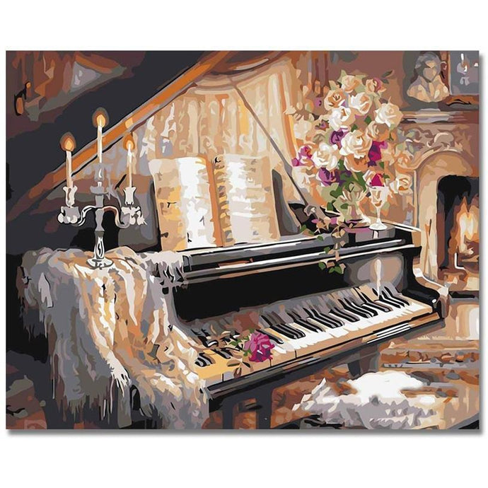 DIY Paint by Number kit for Adults on Canvas-Classical Piano-40x50cm (16x20inches)