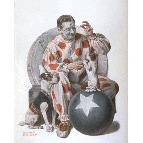 DIY Paint by Number kit for Adults on Canvas-Clown Training Dogs - Norman Rockwell - 1923-Home