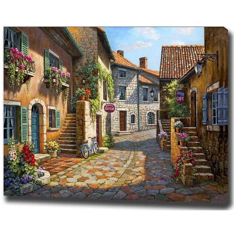 DIY Paint by Number kit for Adults on Canvas-Cobblestone Alley-40x50cm (16x20inches)