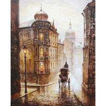 DIY Paint by Number kit for Adults on Canvas-Cobblestone Street in Old England-40x50cm (16x20inches)