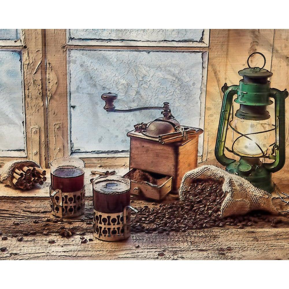 DIY Paint by Number kit for Adults on Canvas-Coffee in the Cabin-Paint By Number