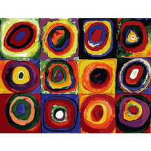 DIY Paint by Number kit for Adults on Canvas-Color Study: Squares with Concentric Circles 1913 - Wassily Kandinsky-Clean PBN