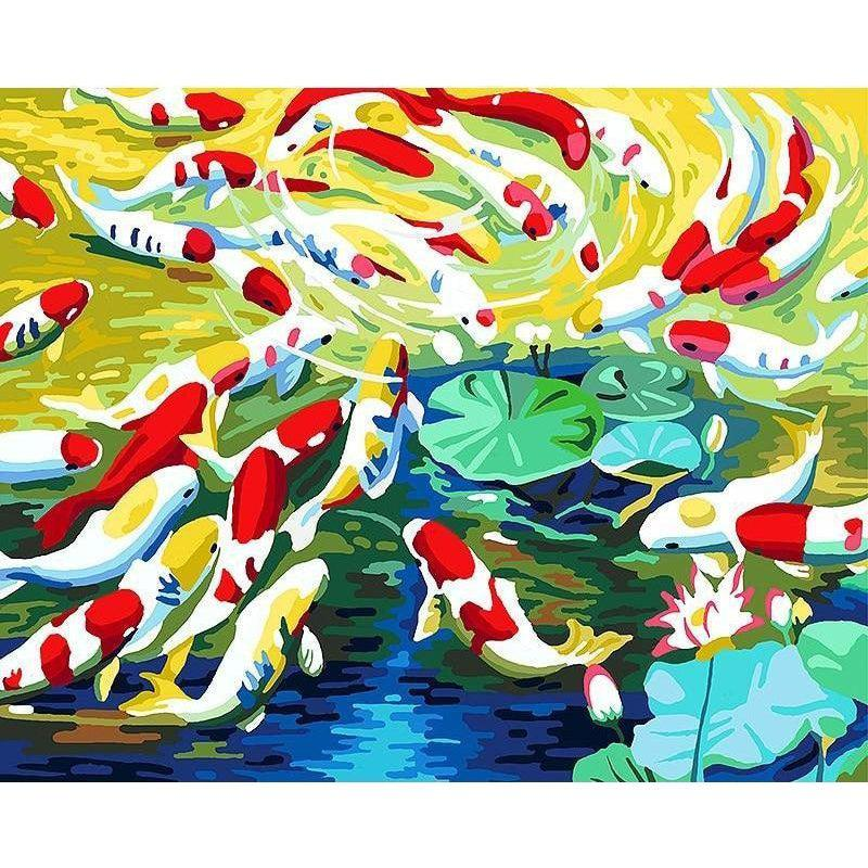 DIY Paint by Number kit for Adults on Canvas-Colored Koi-40x50cm (16x20inches)