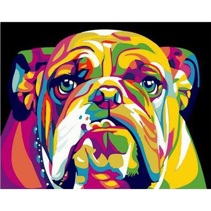 DIY Paint by Number kit for Adults on Canvas-Colorful Bulldog-40x50cm (16x20inches)