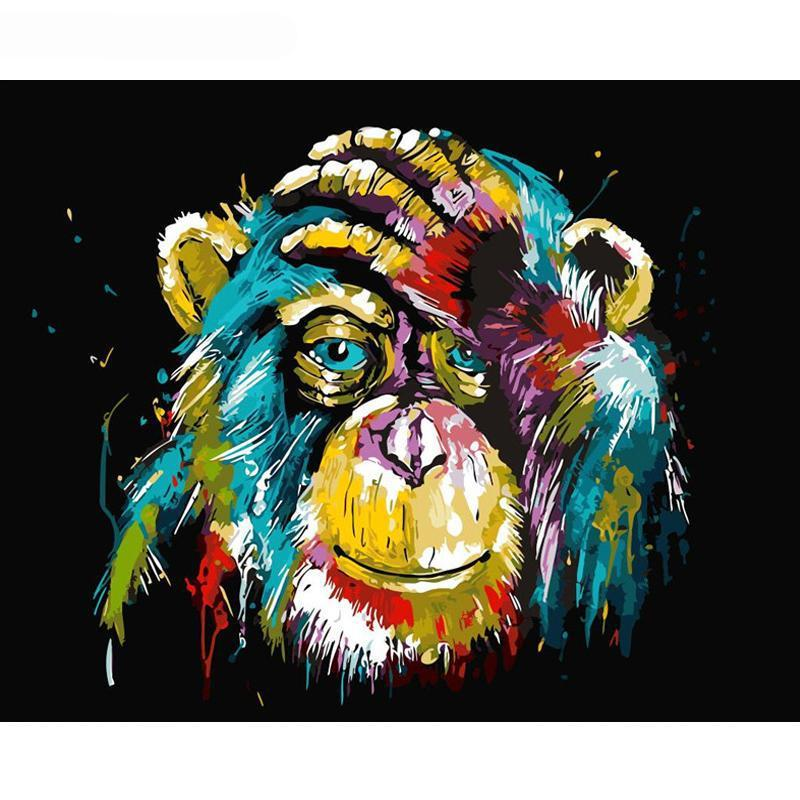 DIY Paint by Number kit for Adults on Canvas-Colorful Chimp-40x50cm (16x20inches)