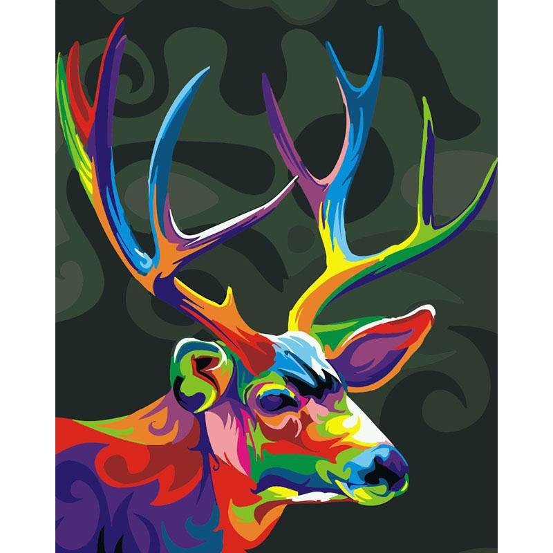 DIY Paint by Number kit for Adults on Canvas-Colorful Deer-40x50cm (16x20inches)