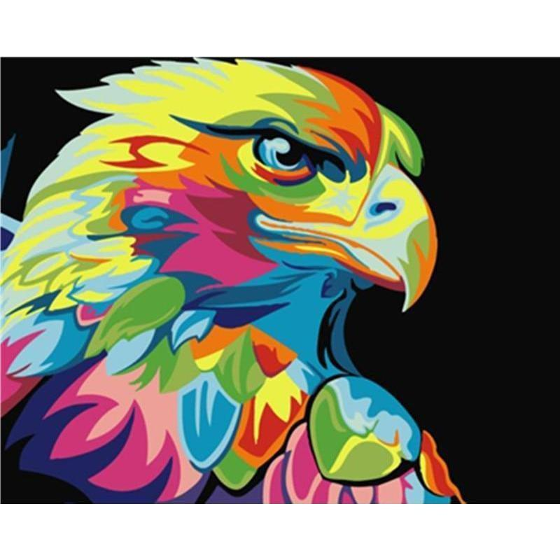 DIY Paint by Number kit for Adults on Canvas-Colorful Eagle-
