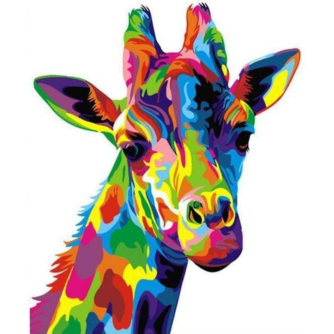 DIY Paint by Number kit for Adults on Canvas-Colorful Giraffe-40x50cm (16x20inches)