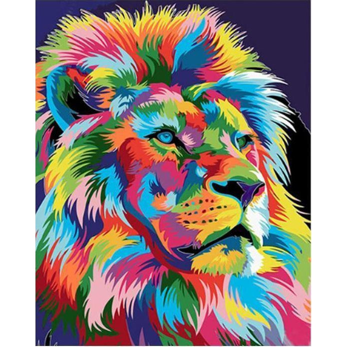DIY Paint by Number kit for Adults on Canvas-Colorful Lion-40x50cm (16x20inches)