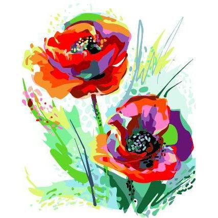 DIY Paint by Number kit for Adults on Canvas-Colorful Poppies-40x50cm (16x20inches)