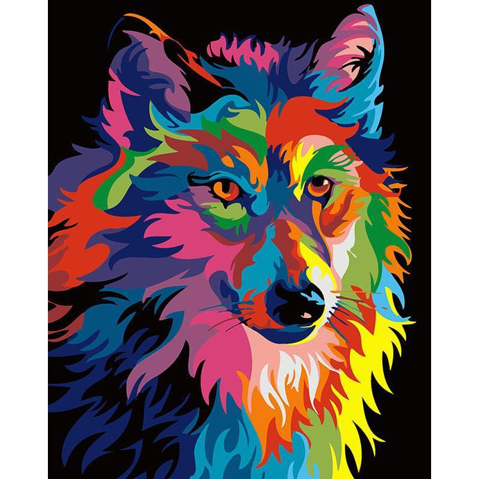 DIY Paint by Number kit for Adults on Canvas-Colorful Wolf-40x50cm (16x20inches)