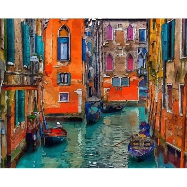 DIY Paint by Number kit for Adults on Canvas-Colors of Venice-Painting & Calligraphy