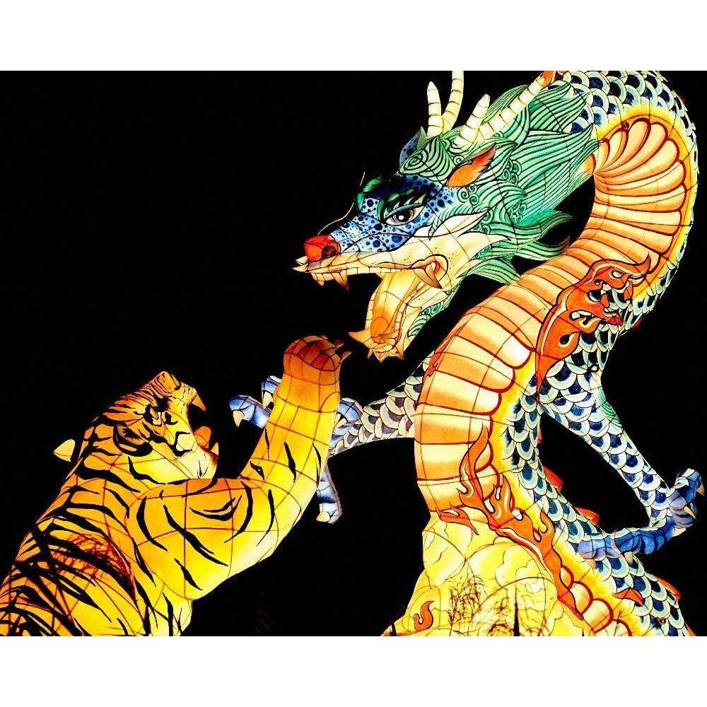 DIY Paint by Number kit for Adults on Canvas-Crouching Tiger Hidden Dragon-Clean PBN