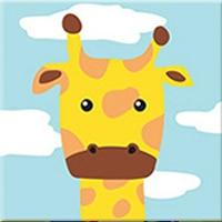 DIY Paint by Number kit for Adults on Canvas-Cute Giraffe - [Tiny Print]-20x20cm (8x8inches)