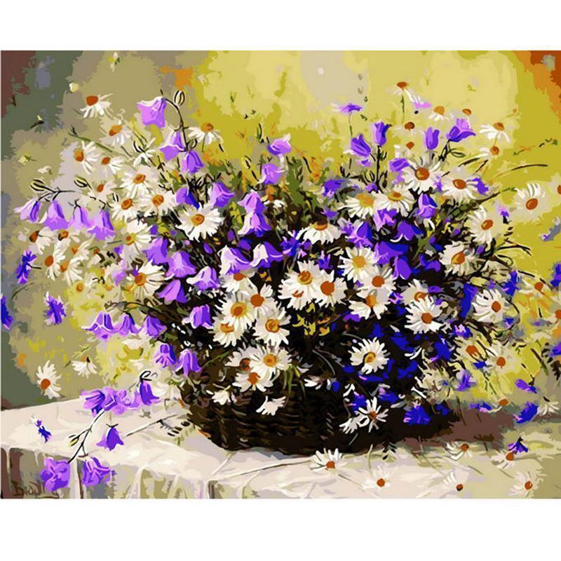 DIY Paint by Number kit for Adults on Canvas-Daisy Flower Basket Still Life-30x40cm (12x16inces)
