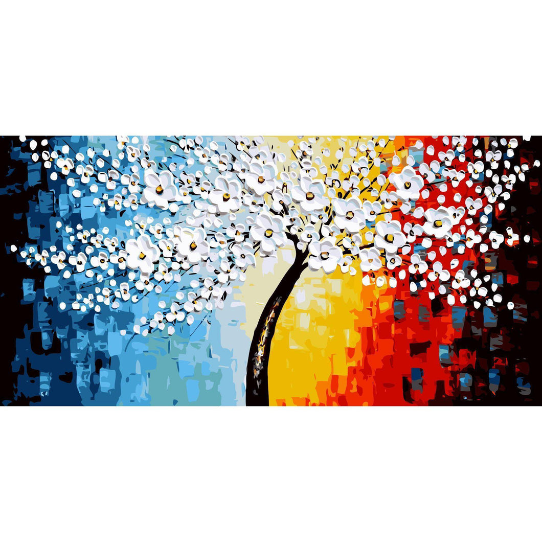 DIY Paint by Number kit for Adults on Canvas-Daisy Tree [EXTRA Large Print]-50x100cm (20x40inches)